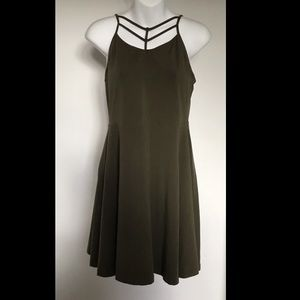Express Cotton Fitted Green Dress